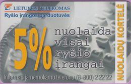 Télécarte Lituanie °° Nc -Nuolaida Visai Rysio Irangai 5% - 6339 - Lituanie