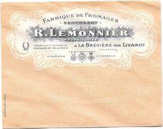 """Enveloppe Publicitaire -- Fabrique De Fromages """"Camembert """"- R. LEMONNIER à La Breviere Par Livarot - Publicités"""