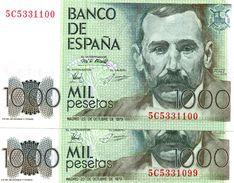 BANCONOTE SPAGNA 1000 PESETAS UNC CONSECUTIVE-1979 - [ 4] 1975-… : Juan Carlos I