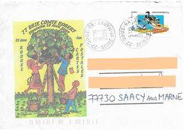 Enveloppe Illustrée Salon Carte Postale Brie Comte Robert Seine Et Marne Timbre Fête Du Timbre Coyote Cachet Doue 77 - Marcofilia (sobres)