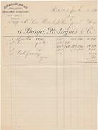 Invoice * Portugal * Armazem E Escriptorio Fazendas De Lã * Porto * 1892 - Portugal
