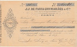 Receipt * Portugal * J. J. De Faria Guimarães & Cª * Porto * 1887 - Portugal