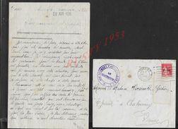 MILITARIA LETTRE EN FRANCHISE MILITAIRE ECRITE DE TOURS 1936 TAMPON DU 404e ARTILLERIE DE D.C.A POUR GÉDION CHABOURNAY : - Poststempel (Briefe)