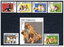AZERBAIJAN 1996 Dogs (6v + Block) MNH / ** - Azerbaïjan