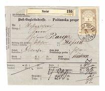 1889-Begleitadresse,von Mostar Nach Höflein,mit Stempelmarke 4 N. - Bosnie-Herzegovine