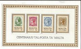 1985 Malta Stamps On Stamps Souvenir Sheet  MNH - Malta