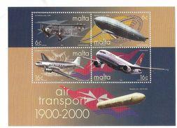 2000 Malta Aviation Airplanes Complete Set Of 4 + Souvenir Sheet  MNH - Malta