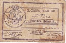 BILLETE DE 50 CENTIMOS DEL CONSEJO MUNICIPAL DE CIUDAD REAL DEL AÑO 1937 - RARO     (BANKNOTE) - Sin Clasificación