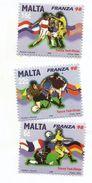 1998 Malta World Cup Football France  Complete Set Of 3  MNH - Malta