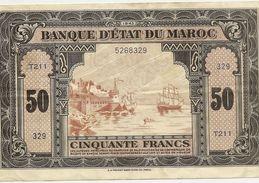 Billet Maroc - Billet De 50 Francs Impressions Americaines Tb En Létat Voir Scan - Morocco