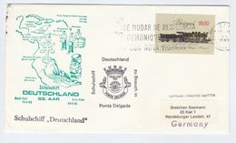 1982 PONTA DELGADA The VISIT Of TRAINING SHIP ' DEUTCHLAND' SHIP COVER Portugal Stamps Railway Steam Train - Covers & Documents