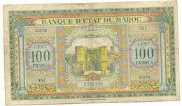 Billet Maroc - Billet De 100 Francs Impressions Americaines Tb En Létat Voir Scan - Morocco