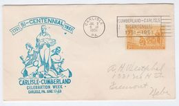 1951 USA CARLISLE Pa  CENTENNIAL  EVENT COVER Illus NATIVE AMERICAN INDIAN , Stamps - American Indians