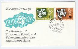 1961 Anderlecht BELGIUM FDC EUROPA Stamps SPECIAL Pmk  SALON PHILATELIE DE L'EUROPE Philatelic Exhibition - FDC