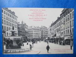 ISERE  38    GRENOBLE   -  PLACE  GRENETTE   -  PUB    AVIS DE PASSAGE    ANIME    TTB - Grenoble