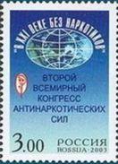 Russia 2003 World Second Anti-drug Congress Health Drugs Oganizations Moscow Globe Emble Medicine Stamp MNH Michel 1091 - Organizations