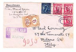 1931 R-Brief Von Los Angeles Amerika Nach Milano Italy Mit Italienischen Strafportomarken - Etats-Unis