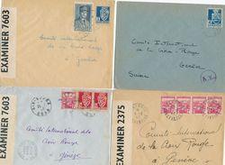 Algérie 4 Lettres CENSURÉES Tarif Etranger Croix Rouge Suisse 4f Seul  El-oued Ain-Sefra - Guerre 45 WW2 - Covers & Documents