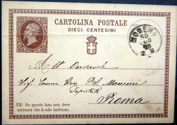 MODENA  CARTOLINA POSTALE DIECI CENTESIMI TIMBRE IMPRIME ET CACHET 1875 - Ganzsachen