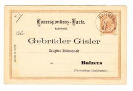1891 2 Kr. Österreichische Antwortkarte Von Mailberg Nach Balzers Rückseitig Seltener Violetter Ankunftsstempel - Entiers Postaux