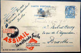 BELGIQUE  CARTE POSTALE PUBLICITAIRE ILLUSTREE  METHODE ASSIMIL PEDAGOGIE   ENTIER POSTAL 1948  CACHETS ET FLAMMES - Belgique