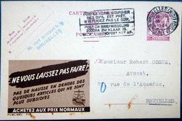 BELGIQUE  CARTE POSTALE PUBLICITAIRE ILLUSTREE ACHETEZ AUX PRIX NORMAUX  ENTIER POSTAL 1948 CACHETS ET FLAMME - Belgique