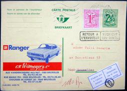 BELGIQUE  CARTE POSTALE PUBLICITAIRE ILLUSTREE RETOUR A ENVOYEUR  AUTOMOBILE RANGER ENTIER POSTAL 1972 CACHETS ET FLAMME - Belgique