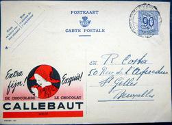 BELGIQUE  CARTE POSTALE PUBLICITAIRE ILLUSTREE CHOCOLAT CALLEBAUT CACAO ENTIER POSTAL 19..? CACHETS ET FLAMME - Collections