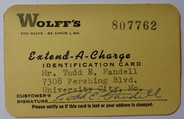 USA - WOLFF'S - Early Merchant Credit Card - 1950-1960 - Used - Credit Cards (Exp. Date Min. 10 Years)