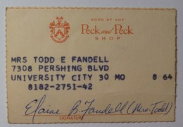 USA - PECK & PECK - Early Merchant Credit Card - 1940-1950's - Used - Krediet Kaarten (vervaldatum Min. 10 Jaar)
