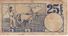 BILLETE DE 25 CENTIMOS DEL CONSEJO MUNICIPAL DE MANZANARES DEL AÑO 1937 CON SELLO SECO      (BANKNOTE) - Sin Clasificación