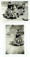 Foto/ Photo. Voiture Renault 4 CV & Pin Up. Zanvoorde 1951. Old Car. Lot De 2 Photos. - Cars