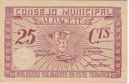 BILLETE DE 25 CENTIMOS DEL CONSEJO MUNICIPAL DE ALBACETE DEL AÑO 1937 CON SELLO SECO    (BANKNOTE) - Sin Clasificación
