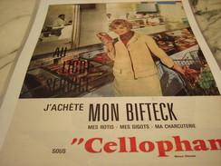 ANCIENNE PUBLICITE MON BIFTECK SOUS CELLOPHANE 1961 - Affiches