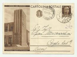 CARTOLINA INTERO  POSTALE - OPERE DEL REGIME  LITTROIA POSTE E TELEGRAFI  1933   VIAGGIATA FG ( PIEGA AL CENTRO ) - 6. 1946-.. Repubblica