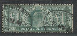 GREAT BRITAIN GRAN BRETAGNA 1902 KING EDWARD VII RE EDOARDO ROI £1 POUND BLUE GREEN USATO USED OBLITERE' - 1902-1951 (Re)