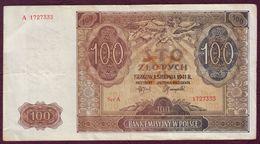 POLOGNE - 100 ZLOTYCH  - 01/08/1941 - Pologne