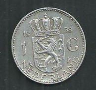 Nederlanden. 1 Gulden Silver, 1958 - 1948-1980 : Juliana