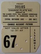 USA - Credit Card - Illinois - Tollway Charge Plate - 1967 - Used - Krediet Kaarten (vervaldatum Min. 10 Jaar)