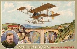 AVIATION - VAN DEN BORN Biplan H. Farman - Aviateurs