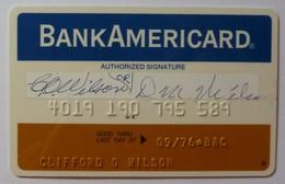 USA - Credit Card - Bank Americard - Narrow - Early Predecessor Of VISA - Exp 09/76 - Mag 1A - Used - Geldkarten (Ablauf Min. 10 Jahre)