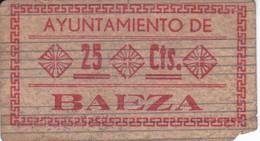BILLETE DE 25 CENTIMOS DEL AYUNTAMIENTO DE BAEZA (JAEN) DEL AÑO 1937 - MUY RARO    (BANKNOTE) - [ 2] 1931-1936 : Repubblica