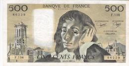 FRANCE BILLET DE 500 FRANCS PASCAL DE 1981 ALPHABET F . 138 - 1962-1997 ''Francs''