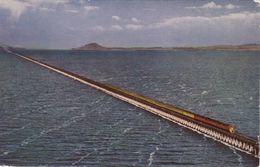 Railway Postcard Lucin Cutoff Railroad Trestle Great Salt Lake Utah USA Bridge - Structures