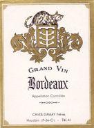 Etiket Etiquette - Wijn - Vin - Bordeaux - Caves Damay - Houdin - Etiquettes