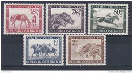 Österreich 1946: ANK 793- 797 ** Austria- Preis, Pferderennen, ANK 16.- € - 1945-.... 2. Republik