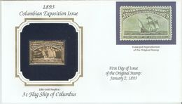 FDC 1893 Columbian Expo Issue 3 Cents Gold Replica Flag Ship Of Columbus - First Day Covers (FDCs)