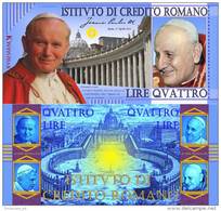 The 4 Popes Banknote - Wojtyła - Giovanni XXIII - Bergoglio - Ratzinger - Fantasy Commemorative Banknote - Vaticano
