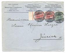 """Briefumschlag AG Olkuszer Stanz- U. Emaillirwerke """"Westen"""" In Olkusz, Russisch Polen, Gel. V. Kattowitz 1908 Nach Zürich - Ganzsachen"""