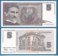 Yugoslavia - 5 New Dinars 1994 UNC - Jugoslawien